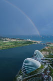 Singapore with rainbow  view from Marina Bay Hotel Stock Photos