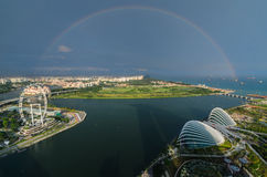 Singapore with rainbow. View from roof Marina Bay Hotel Stock Images
