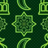 Singapore Ramadan Kareem green neon symmetry seamless pattern. This illustration is design abstract Singapore Ramadan Kareem with neon green and stars silhouette vector illustration
