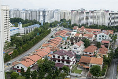 Singapore real estate. Top view photo shot of some landed property houses and some goverment apartments in the background Royalty Free Stock Image