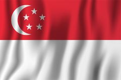 Singapore realistic waving flag vector illustration. National country background symbol. Independence day.  vector illustration