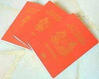 Singapore red Passports Royalty Free Stock Photos