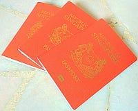 Singapore red Passports. Singapore three Red Passports for travel Royalty Free Stock Photos