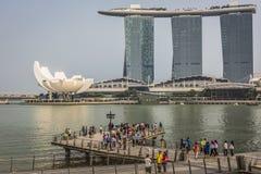 Singapore reflection of buildings Marina bay Stock Photo