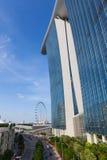 Singapore reklamblad och Marina Bay Sands Hotel Royaltyfria Foton