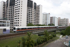 Singapore residential. Area with train in front Royalty Free Stock Image