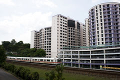 Singapore residential. Area with train in front Stock Photos