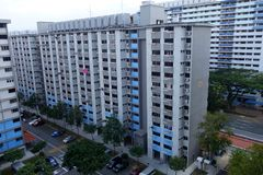 Singapore residential building also known as HDB. SINGAPORE-15 APR, 2018: View of Singapore residential building also known as HDB Stock Photography