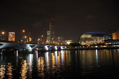 Singapore River. And Esplanade Theater in evening Stock Photos