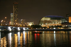 Singapore River. And Esplanade Theater in evening Stock Photo