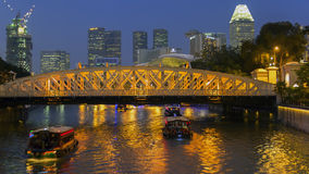 Singapore River and Anderson Bridge. Royalty Free Stock Photos
