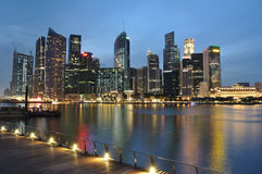 Singapore river at blue hour. Singapore skyline and river at blue hour Stock Photo