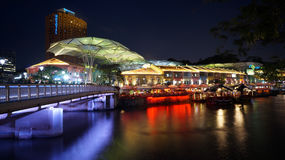 Singapore River and Clarke Quay. Clarke Quay is a historical riverside quay located on the Singapore River Stock Photo