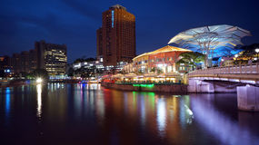 Singapore River and Clarke Quay. Clarke Quay is a historical riverside quay located on the Singapore River Royalty Free Stock Photos