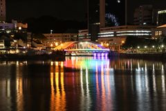 Singapore River and Clarke Quay at night Royalty Free Stock Photos