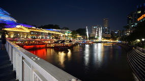 Singapore River and Clarke Quay viewed from Read Bridge. Clarke Quay is a historical riverside quay located on the Singapore River Stock Photos
