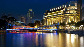 Singapore river in the evening Stock Photos