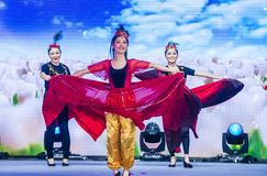Singapore 2018 River Hongbao. SINGAPORE - FEB 21 : Dancers perform at the Chinese New year Celebration at River Hongbao in Singapore  Marina Bay on Februery 21 Royalty Free Stock Photography