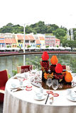 Singapore River meal view Royalty Free Stock Photos