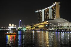 Singapore river at night Stock Photos