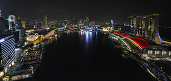 Singapore river and skyline Royalty Free Stock Photos