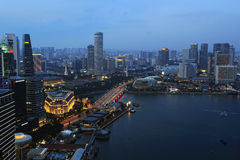 Singapore river and skyline. At blue hour Royalty Free Stock Photography
