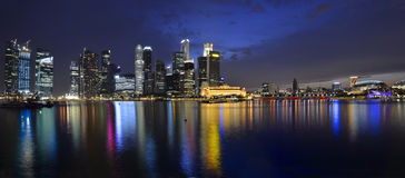 Singapore river and skyline Royalty Free Stock Image