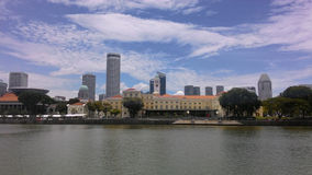 Singapore River Skyline. Singapore - August 2016 A view of the Singapore River Skyline featuring the Asian Civilisations Museum, the Parliament House and the royalty free stock images