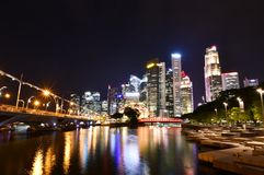 Singapore River Stepped Plazas At Night Stock Photography