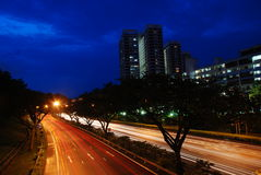 singapore road at night Royalty Free Stock Image