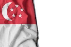 singapore rynkade flaggan, utrymme för text Fotografering för Bildbyråer