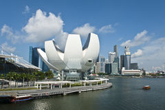 The Singapore's Art Science Museum At Dusk stock photo