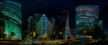 Singapore's Beautiful Modern Architecture at Night Royalty Free Stock Images