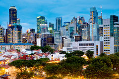 Singapore's CBD over Chinatown Stock Photo