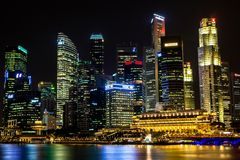 Singapore's Central Business District at Night Royalty Free Stock Photography