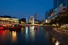 Singapore`s Clarke Quay at Night Royalty Free Stock Photos