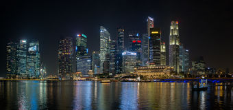 Singapore's Famous Skyline at Night Stock Photography