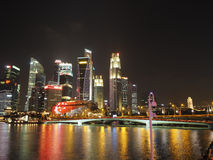 Singapore's Financial District night scene Stock Images