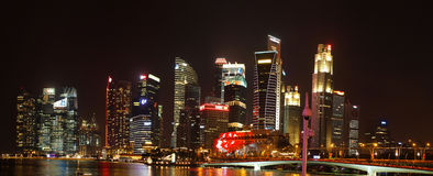 Singapore's Financial District - Panoramic night scene Royalty Free Stock Images