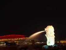 Singapore's Merlion. Night scene of Singapore's famous icon : Merlion Stock Image