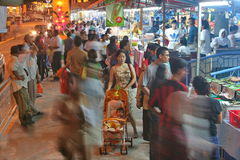 Singapore's night market. Singapore, quay.In the evening a port view Stock Photo