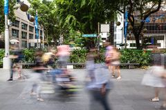 Singapore's Orchard Road With People Motion Blur Royalty Free Stock Photography