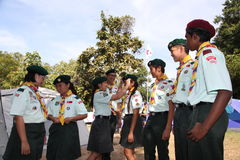 Boy scout Singapore jamboree. 4 th Asean Scout jamboree 27 Nov-4 Dec 2013 in Thailand Stock Photo