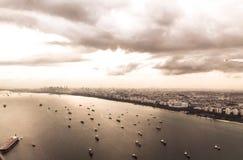 Singapore sea shore. Seascape of Singapore City sky land Stock Photos