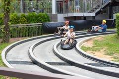 Singapore Sentosa Skyride Luge, Singapore, 28 December, 2017 Stock Foto's