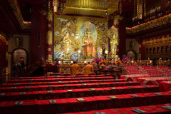 Buddha in Tooth Relic Temple in China Town, Singapore stock images