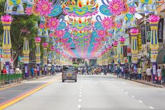 Singapore - Sep 1, 2017: Crowd of people across the road at Little India district. Little India is Singaporean neighbourhood east. Of the Singapore River royalty free stock photography