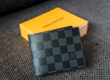 Singapore - SEP 11, 2016: A Louis Vuitton wallet standing . Loui Royalty Free Stock Photos
