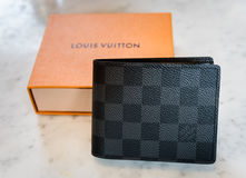Singapore - SEP 11, 2016: A Louis Vuitton wallet standing . Louis Vuitton is a luxury designer brand. Royalty Free Stock Image