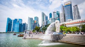 Singapore 21 Sep 2018,Thay are tourist come to Merlion Park for take a photo and check-in landmark. NSingaporenlandmark royalty free stock photography